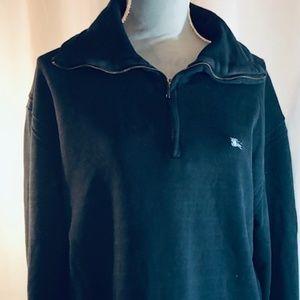 Burberry London Navy Blue Half Zip-up Sweatshirt